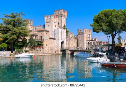 Castle Sirmione on lake Garda, Italy