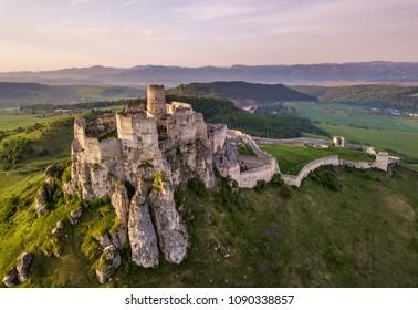 Spiš castle in Slovakia. Morning light. Spring background.