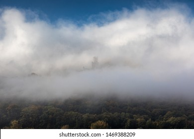 Castle Sooneck hiding in the clouds, Rhineland-Palatinate, Germany