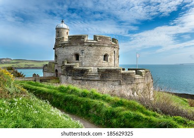 The castle at St Mawes built in 1540 and one of Henry VIII's coastal artillery fortresses and sister castle to Pendennis on the Falmouth side of the shore.