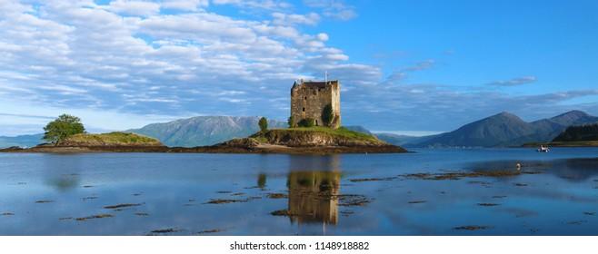 Castle Stalker scotland surrounded by water located 25 miles north of Oban