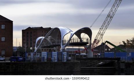 Castle Street Bridge construction in Hull, East Yorkshire, England. 13th of November 2019