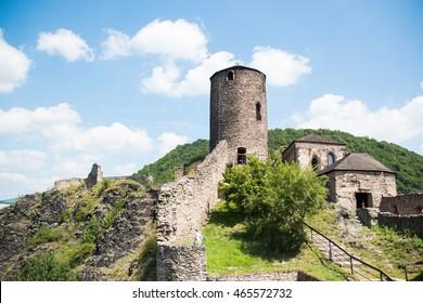 Castle Strekov in valley of river Elbe, czech republic