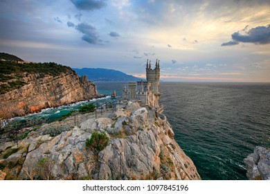 "Castle ""Swallow's Nest"" at dawn in the Crimea"
