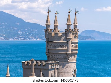 Castle of Swallows Nest on the Black Sea coast, Crimea. It is a famous landmark of Crimea.