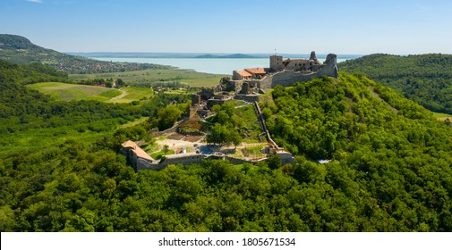 Castle of Szigliget aerial view in summer. Hungarian, European landscape.