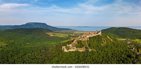 The Castle of Szigliget with Badacsony mountain and Lake Balaton in the background