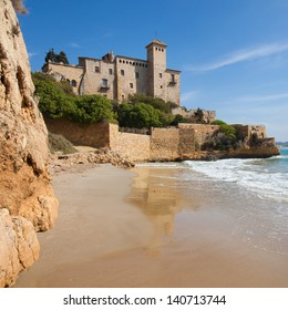 Castle of Tamarit from the beach of Cala Jovera in Tarragona, Spain.