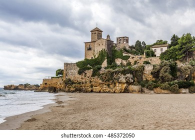 Castle of Tamarit and beach, Costa Daurada, Tarragona, Catalonia, Spain.