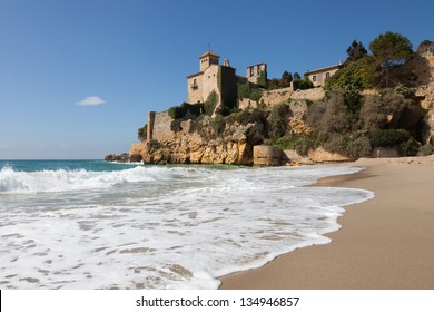 Castle of Tamarit seen from the beach, Tarragona province, Catalonia.