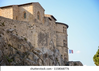 Castle of Tournon sur Rhone - Tournon sur Rhone and Tain l'Hermitage, two  river towns and Vineyards on the Hills of the Cote du Rhone Area in France