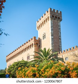 castle with tower and city gate of Bolgheri