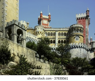 Castle with tower and high wall in portugal.