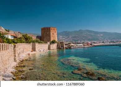 Castle tower old town with wall in Alanya peninsula, Antalya district, Turkey