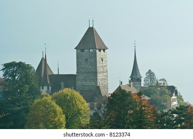 A castle tower and spires in the early morning, over autumn foliage.