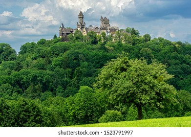 Castle towers, Hubertus Tower, New Castle Keep, Georg Tower and Alter Stock tower, in the overall view of Castle Braunfels, historic centre, Braunfels, Hesse, Germany