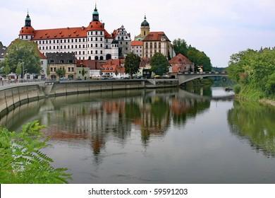 Castle in town Neuburg on River Danube in Bavaria