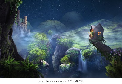 castle and tree wooden house in fantasy misterious night landscape