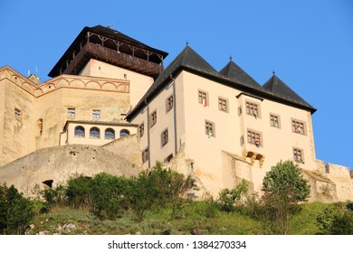Castle in Trencin, old town in Slovakia in Povazie region. Medieval fortress on a hill.