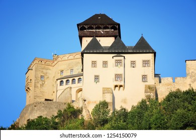 Castle in Trencin, Slovakia in Povazie region. Medieval fortress on a hill.