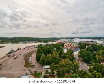 Castle of Turku and the port of Turku. Shot from the air at august.
