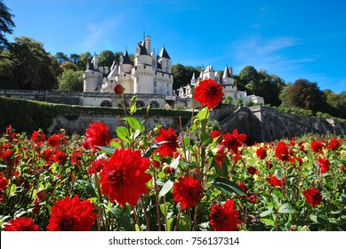 The Castle Usse best panoramic view in sunny summer day. Sleeping beauty castle, french region Loire valley, France