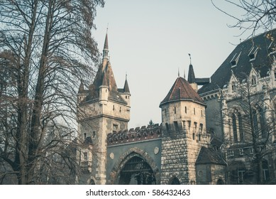 Castle of Vajdahunyad in Budapest The Capital of Hungary Europe, parts and fragments of architecture with a facade