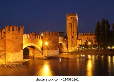 Castle Vecchio in Verona, Italy. Night shot