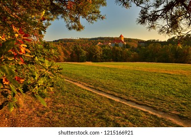 Castle Veveri - City of Brno, Czech Republic - Europe. Beautiful autumn landscape with castle. Brno dam and sunset at the golden hour. Autumn season October.