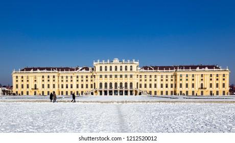 The Schönbrunn Castle in Vienna at winter