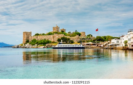 The castle view from beach in the Bodrum Town