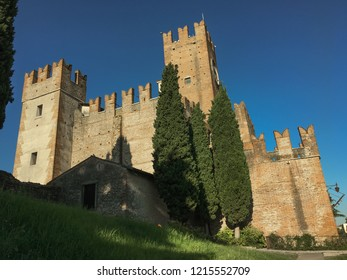 Castle of Villafranca Verona, Italy. Even the castle of Villafranca was part of the serraglio and dates back to the year 1201.It was erected as an outpost to protect a particularly vulnerable spot