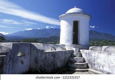 the castle at the Village of Gracias in Honduras in Central America.    Honduras, Gracias, December, 2009
