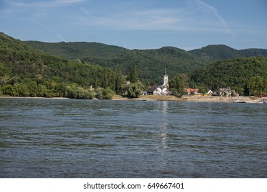 Castle of Visegrad in Hungary with the Danube river