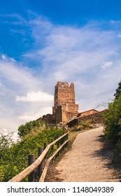 Castle of Vozmediano, from the path that leads to the source of the queiles river. Soria, Spain