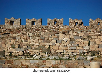 The castle wall battlements of Kos Castle on the Greek Island of Kos