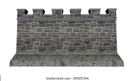 Castle wall isolated in white background - 3D render