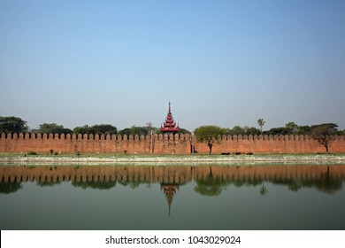 Castle wall of Mandalay Palace. Feb 21 2018.