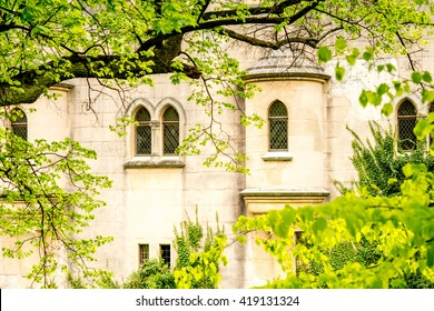 Castle wall with windows and green plants in Bojnice, Slovakia