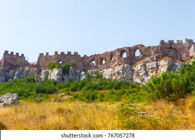 The castle walls of Mytilene in Lesvos island, Greece, one of the largest castles in the Mediterranean