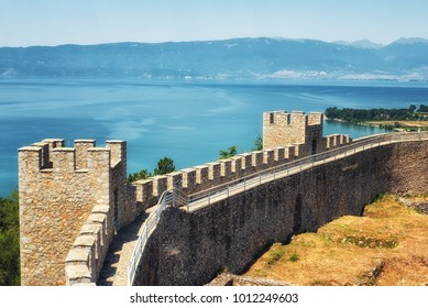Castle walls, Samuil's Fortress, Unesco World Heritage Site, on Lake Ohrid, Ohrid, Macedonia