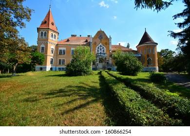 The castle from Zau de Campie, Romania was build on the principles of a calendar (365 windows, 4 towers, 52 rooms, 7 terraces, 12 suites)./The calendar castle./Landscape with castle.