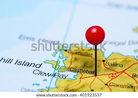 Castlebar Pinned On Map Ireland Stock Photo Edit Now 401923537