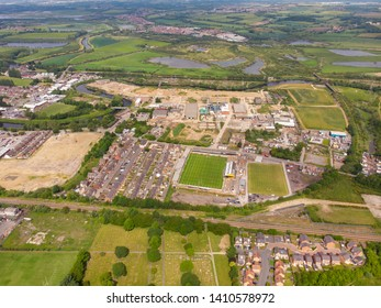 Castleford Yorkshire UK, 29th May 2019: Aerial photo overlooking the Castleford area of Wakefield showing the Castleford Tigers RLFC rugby pitches, taken on a sunny bright summers day.