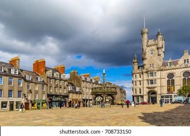 Castlegate in the city centre,  Aberdeen, Scotland, Great Britain,13 July, 2017