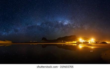Castlepoint Village at night/ Wairarapa region / New Zealand