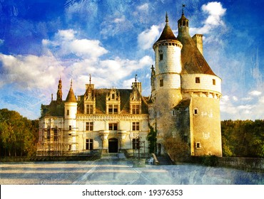 castles of Loire valley - picture in painting style