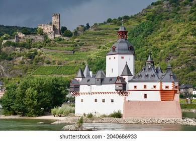 Castles on the Rhine near Kaub: Pfalzgrafenburg and Gutenfels
