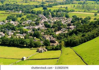 Castleton village in the Peak District National Park Derbyshire England