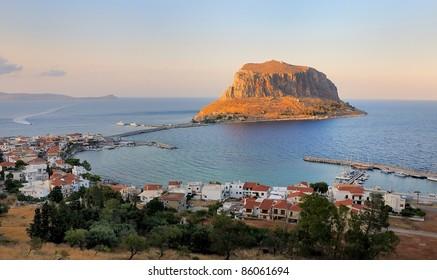 The castle-town of Monemvasia in Lakonia, Greece
